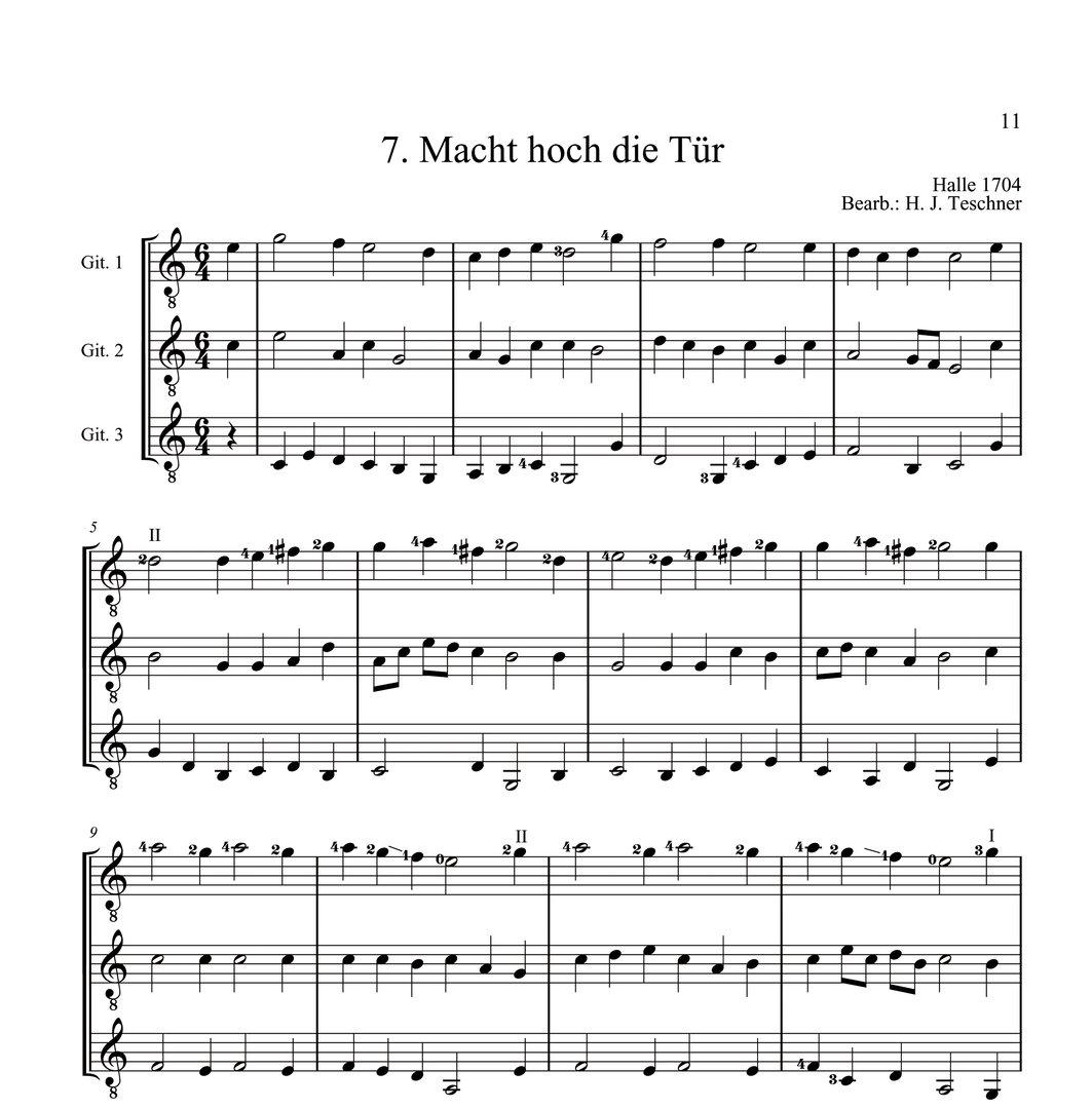 Teschner, Hans Joachim - Weihnachtslieder für 3 Gitarren. GUITAR ...