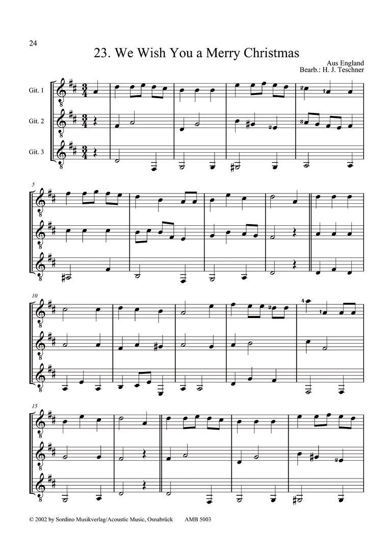 Leichte Weihnachtslieder.Teschner Hans Joachim Weihnachtslieder Für 3 Gitarren Guitar Team Vol 3